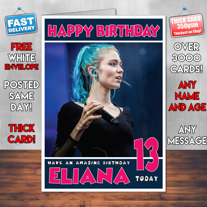 Personalised Grimes 2 Celebrity Inspired Style Birthday Card (SA)