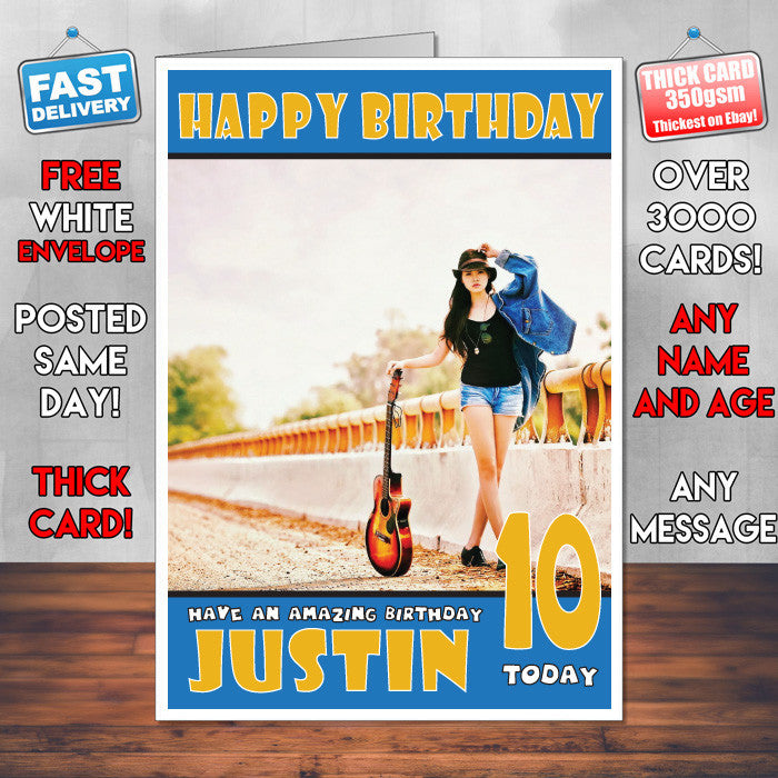 Personalised Guitar Girl Celebrity Inspired Style Birthday Card (SA)