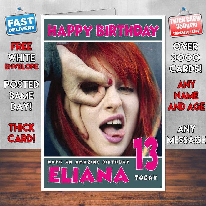 Personalised Hayley Williams 3 Celebrity Inspired Style Birthday Card (SA)