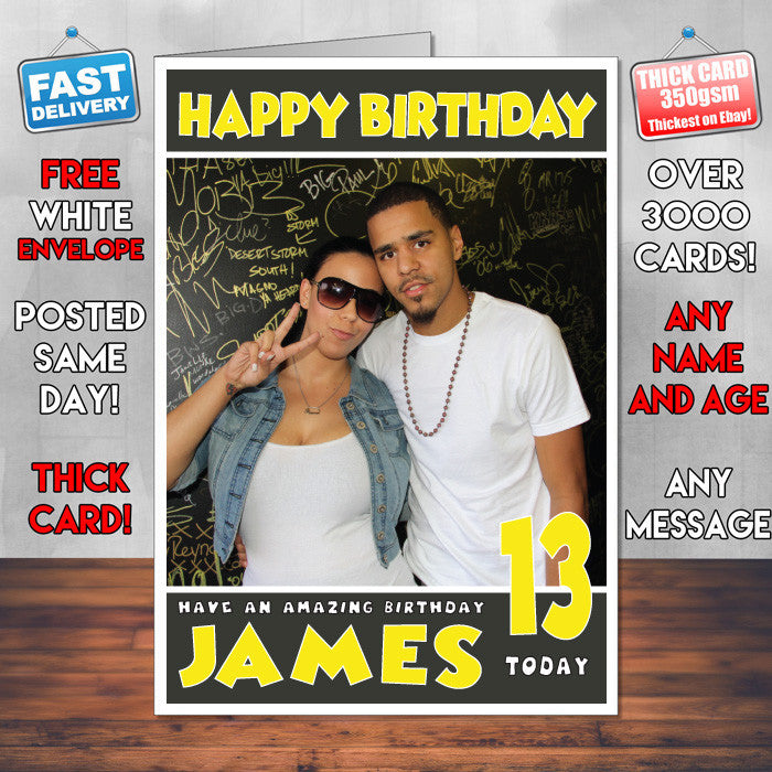 Personalised J Cole 1 Celebrity Inspired Style Birthday Card (SA)