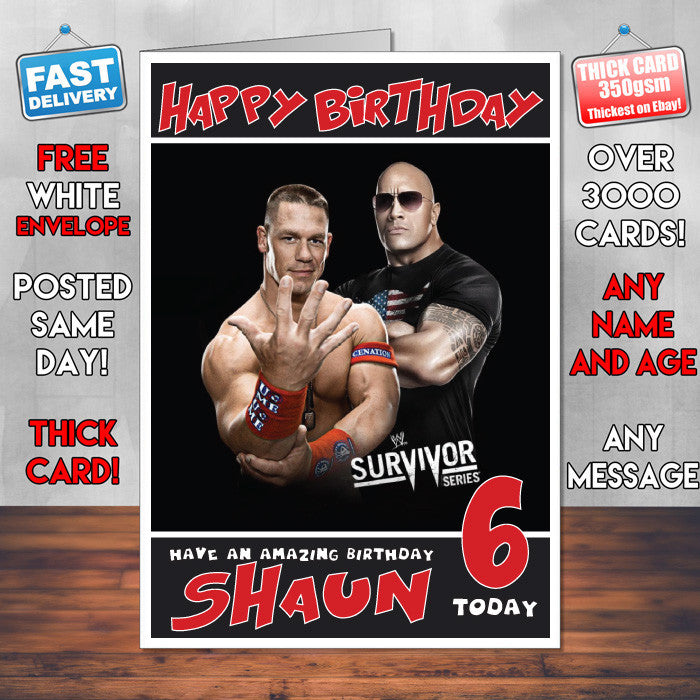 Personalised John Cena And The Rock Wwe Inspired Style Birthday Card