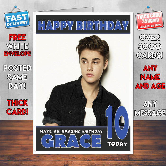 Personalised Justin Bieber 1 Celebrity Inspired Style Birthday Card