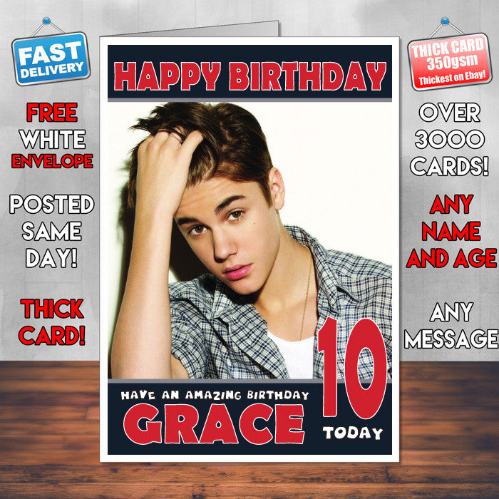 Personalised Justin Bieber 2 Celebrity Inspired Style Birthday Card