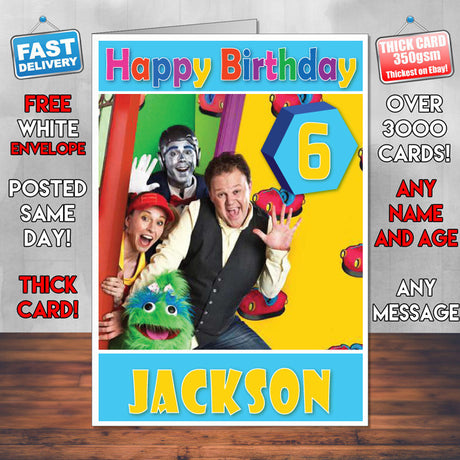 Personalised Justin's House 2 Style Theme Personalised Kidshows Birthday Card (SA)