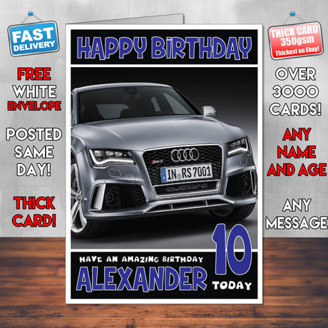 Personalised Kids - Adults - Audi-1 Cars Birthday Card (SA)