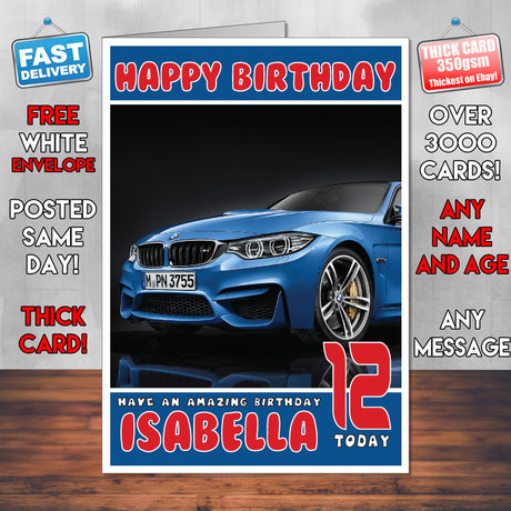 Personalised Kids - Adults - BMW-12 Cars Birthday Card (SA)