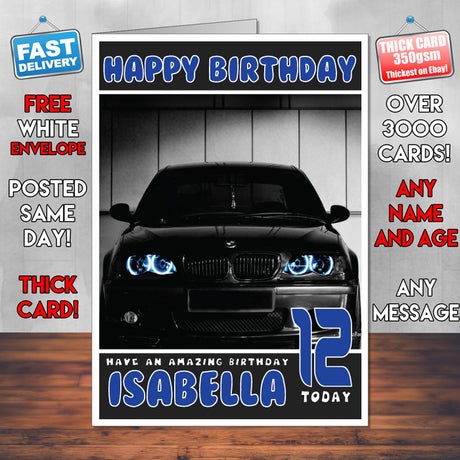 Personalised Kids - Adults - BMW-18 Cars Birthday Card (SA)