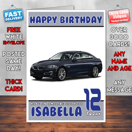 Personalised Kids - Adults - BMW-19 Cars Birthday Card (SA)