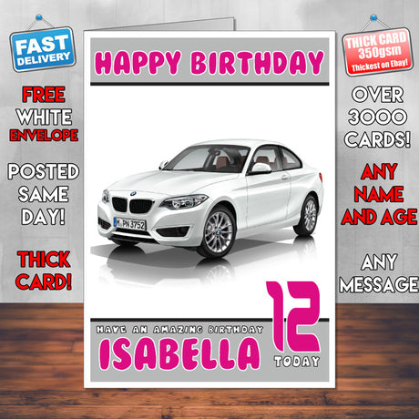 Personalised Kids - Adults - BMW-1 Cars Birthday Card (SA)