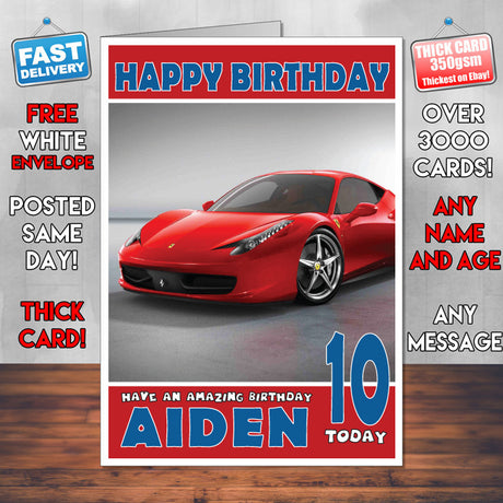 Personalised Kids - Adults - Ferrari-11 Cars Birthday Card (SA)