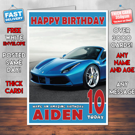 Personalised Kids - Adults - Ferrari-2 Cars Birthday Card (SA)