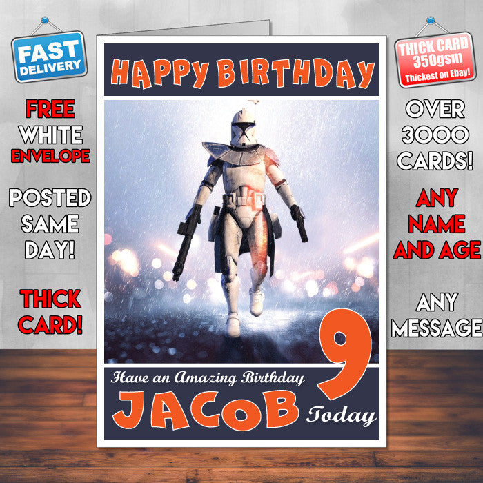 Personalised Kids Bf4 Captain Rex Game Inspired Style Birthday Card SA