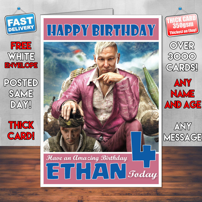 Personalised Kids Far Cry 3 Pagan Min Game Inspired Style Birthday