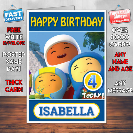 Personalised Kids Inspired Go Jetters 1 Style Theme Personalised Kidshows Birthday Card (SA)
