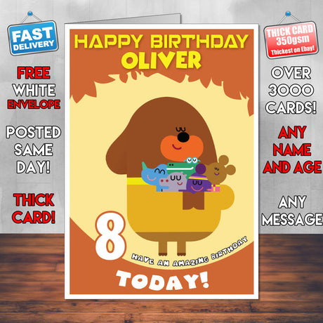 Personalised Kids Inspired Hey Duggee 2 Style Theme Personalised Kidshows Birthday Card (SA)