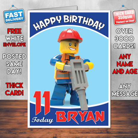 Personalised Kids Inspired LEGO PEOPLE 2 Birthday Card (SA)