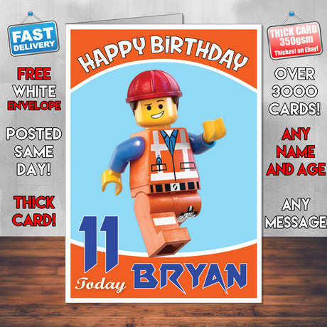 Personalised Kids Inspired LEGO PEOPLE 5 Birthday Card (SA)