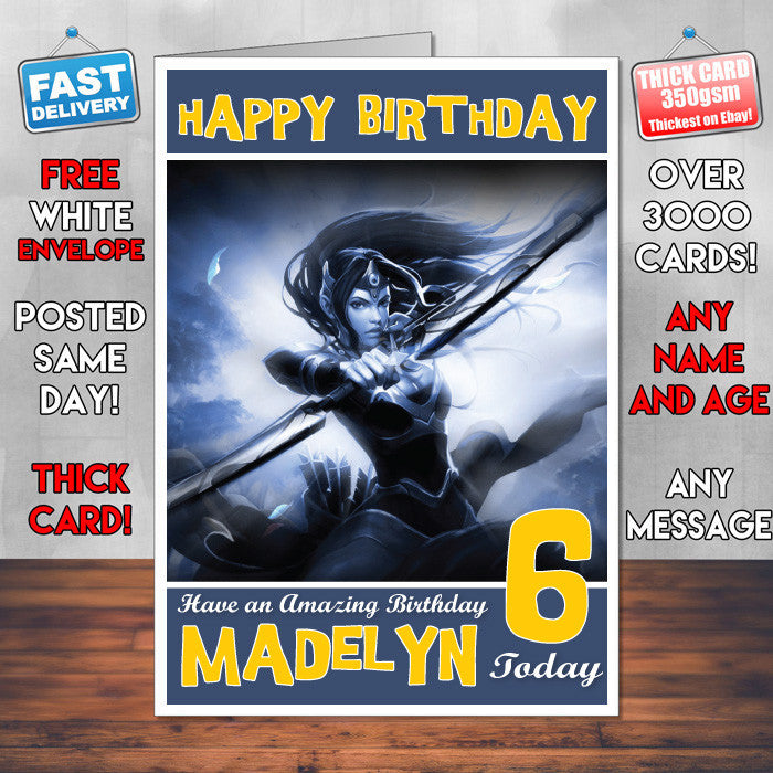 Personalised Kids Mirana Dota 2 Game Inspired Style Birthday Card SA