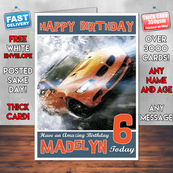 Personalised Kids Need For Speed 1 Game Inspired Style Birthday Card