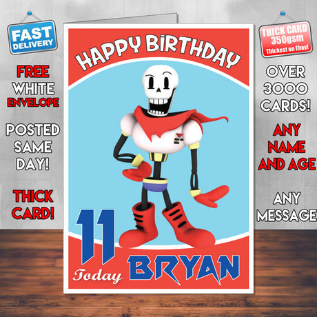 Personalised Kids Inspired Papyrus From Undertale Render Birthday Card (SA)