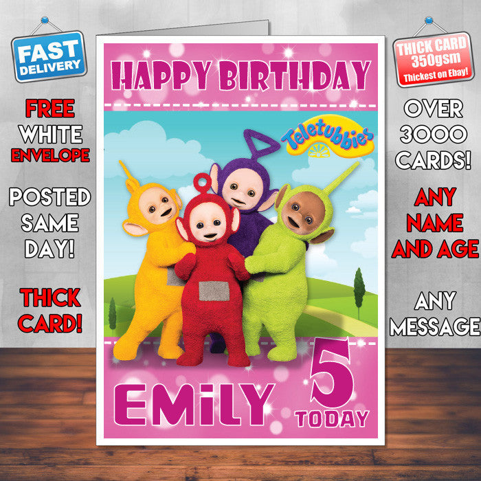 Personalised Kids Inspired Teletubbies 1 Style Theme Personalised