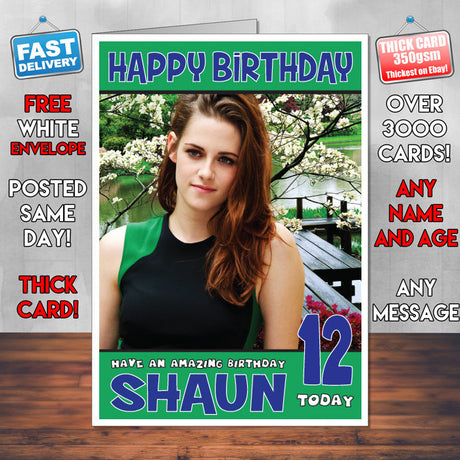 Personalised Kristen Stewart 3 INSPIRED THEME Celebrity Birthday Card (SA)