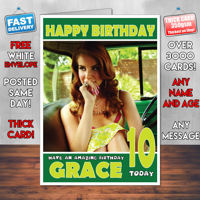 Personalised Lana Del Rey 2 Celebrity Inspired Style Birthday Card