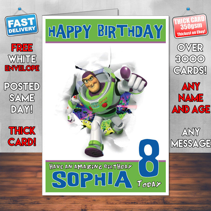 Personalised Lightyear Running Style Inspired Cartoon Birthday Card SA