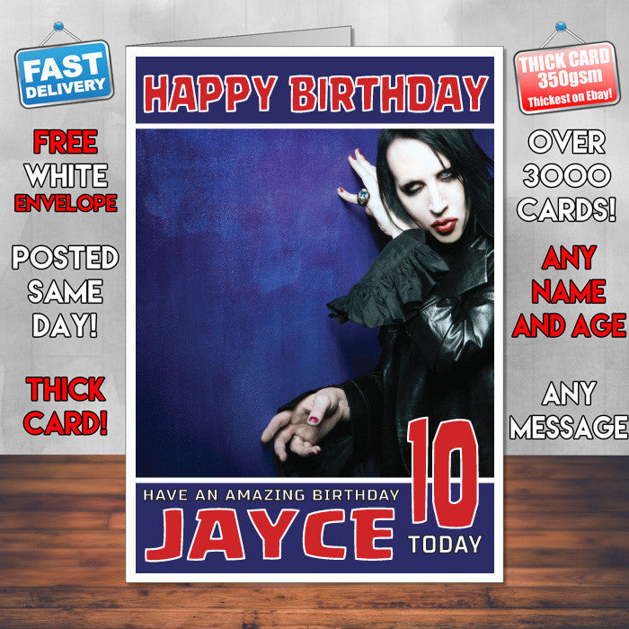 Personalised Marilyn Manson 2 Celebrity Inspired Style Birthday Card