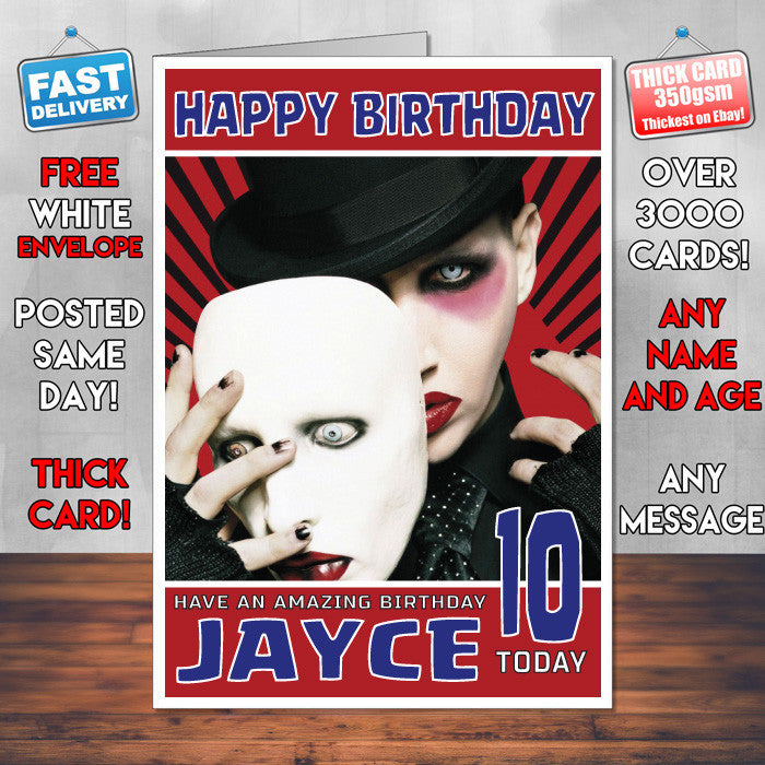 Personalised Marilyn Manson 3 Celebrity Inspired Style Birthday Card