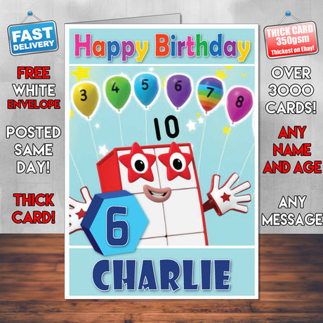 Personalised Number Blocks 10 Style Theme Personalised Kidshows Birthday Card (SA)