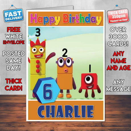 Personalised Number Blocks 14 Style Theme Personalised Kidshows Birthday Card (SA)