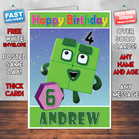 Personalised Number Blocks 4 Style Theme Personalised Kidshows Birthday Card (SA)