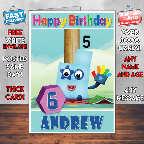 Personalised Number Blocks 5 Style Theme Personalised Kidshows Birthday Card (SA)