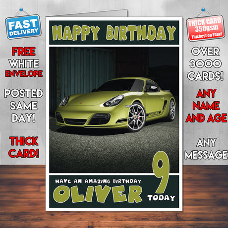 Personalised Porsche 3 Cars Birthday Card (SA)
