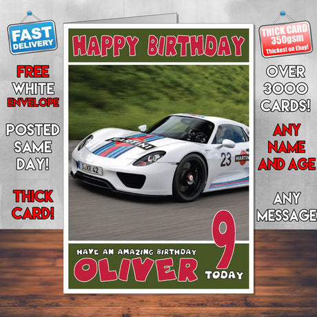 Personalised Porsche 4 Cars Birthday Card (SA)