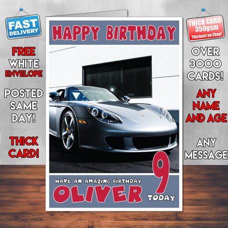 Personalised Porsche 5 Cars Birthday Card (SA)