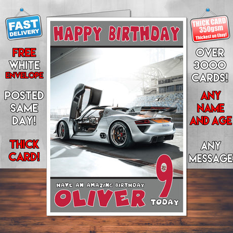 Personalised Porsche 6 Cars Birthday Card (SA)