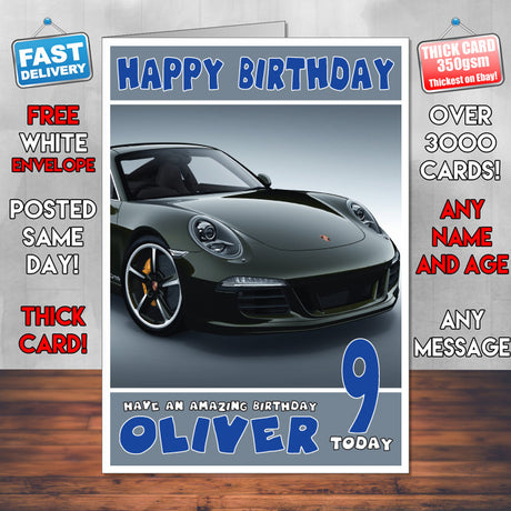 Personalised Porsche 8 Cars Birthday Card (SA)