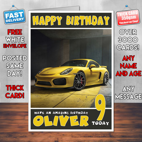 Personalised Porsche 9 Cars Birthday Card (SA)
