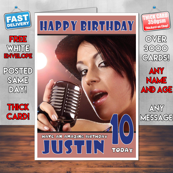 Personalised Singing The Girl Retro Celebrity Inspired Style Birthday Card SA