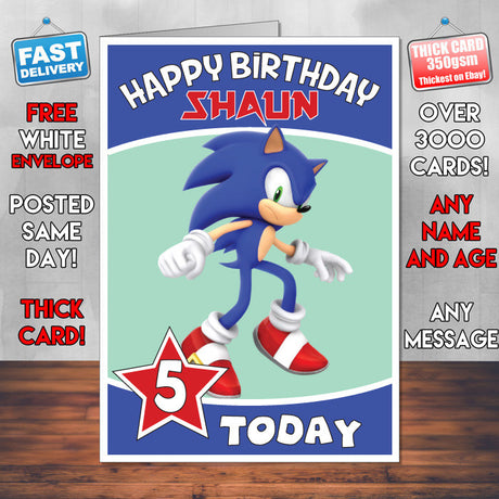 Personalised Sonic The Hedgehog Birthday Card (SA)