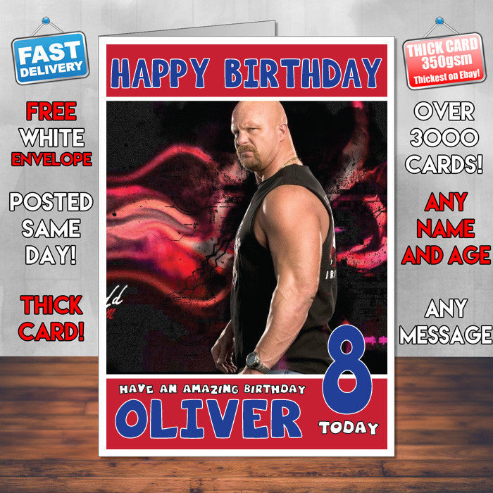 Personalised stone cold steve austin 1 wwe inspired style birthday personalised stone cold steve austin 1 wwe inspired style birthday card sa bookmarktalkfo Image collections
