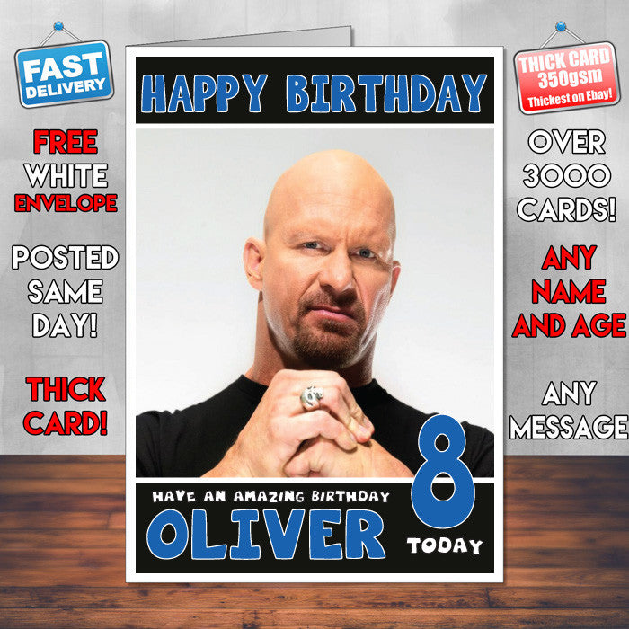 Personalised Stone Cold Steve Austin 2 Wwe Inspired Style Birthday