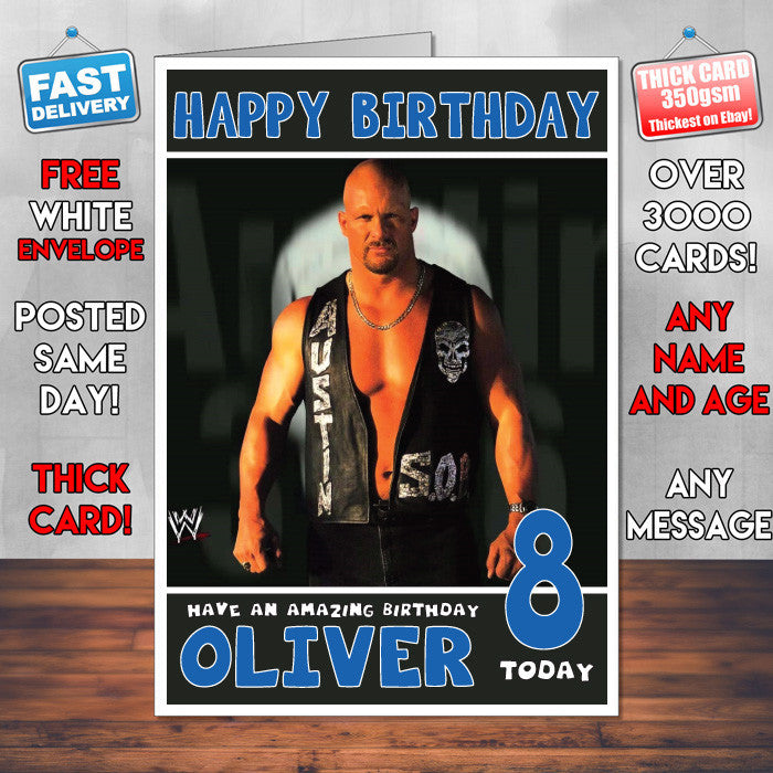 Personalised Stone Cold Steve Austin 3 Wwe Inspired Style Birthday