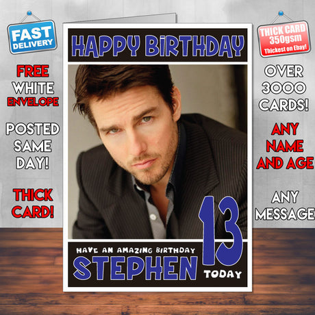 Personalised Tom Cruise 1 Celebrity Inspired Style Birthday Card (SA)