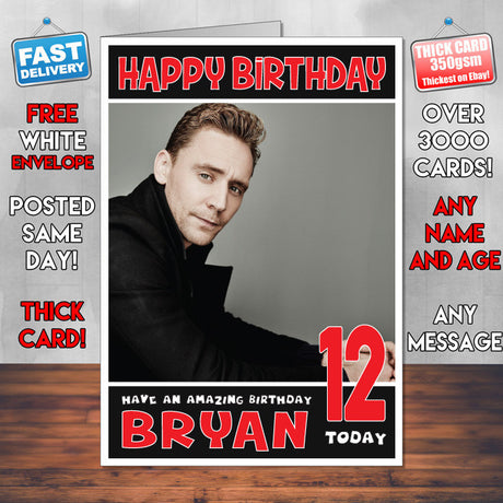 Personalised Tom Hiddleston Celebrity Inspired Style Birthday Card (SA)