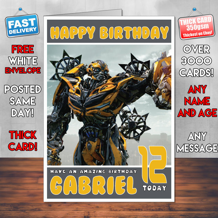 Any Greetings Card A5 Your Name Personalised Transformers Bumblebee Birthday