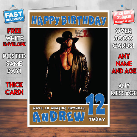 Personalised Undertaker 2 WWE Inspired Style Birthday Card (SA)
