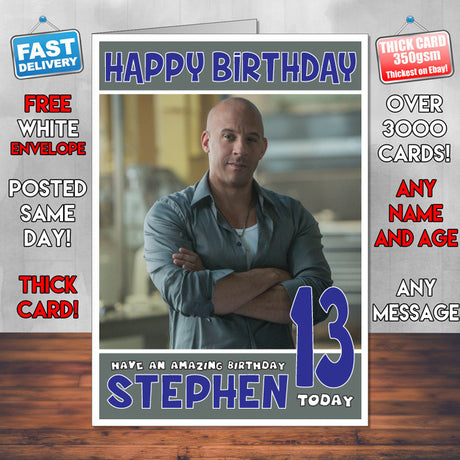 Personalised Vin Diesel 1 Celebrity Inspired Style Birthday Card (SA)